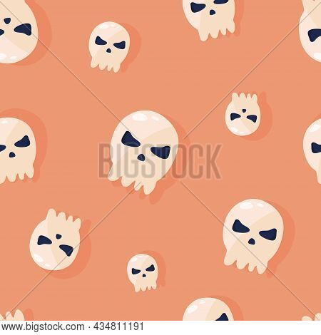 Seamless Pattern For Halloween Holiday. Halloween Seamless Pattern With Sculls For Poster, Card, Ban