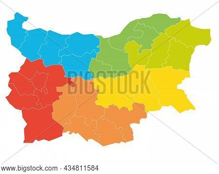 Colorful Political Map Of Bulgaria. Administrative Divisions - Provinces - Divided By Color Into Reg