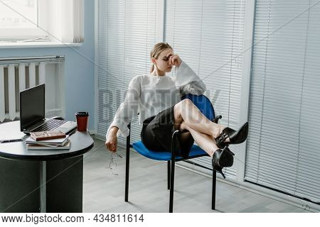 Multitasking Skills Employers, Work Burnout, Tired At Work. Busy Young Blonde Businesswoman With Man
