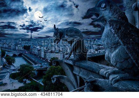 Gargoyle Of Notre Dame De Paris On Halloween, France. Fantasy View Of Creepy Paris, Skyline At Gothi