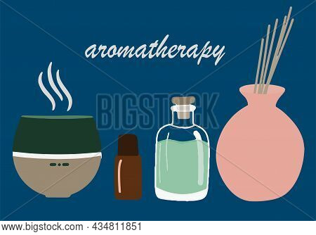 Collection Of Elements For Face And Body Massage, Oil, Aroma Diffuser, Aroma Lamp, A Set Of Beauty I