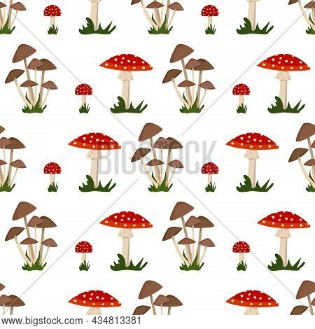 Seamless Pattern With Amanita Mushroom With Red Hat And White Dot, Toadstool And Grass. Bright Fly A