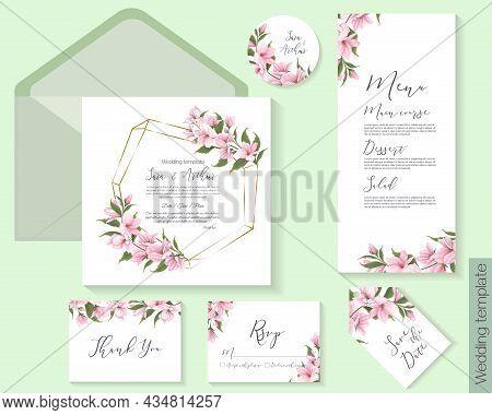 Vector Floral Template For Wedding Invitations. Branches Of Pink Sakura, Magnolia. Invitation Card,