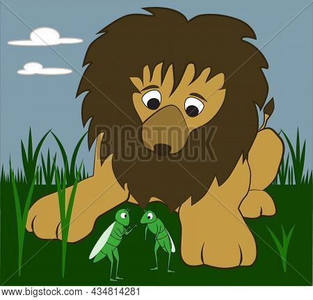 A Friendly Lion Is Listening To The Conversation Of The Grasshoppers In The Savanna