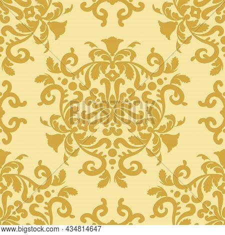 Vintage Decorative Ornament Seamless Pattern. Decorative Texture. Gold, Beige. Decorative Texture. D