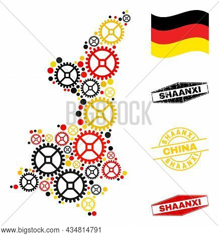 Workshop Shaanxi Province Map Collage And Stamps. Vector Collage Is Composed With Clock Gear Element