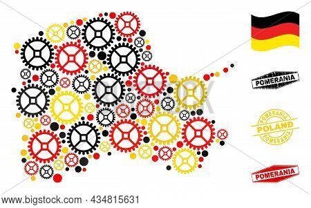 Mechanics Pomeranian Voivodeship Map Collage And Stamps. Vector Collage Is Designed From Industrial