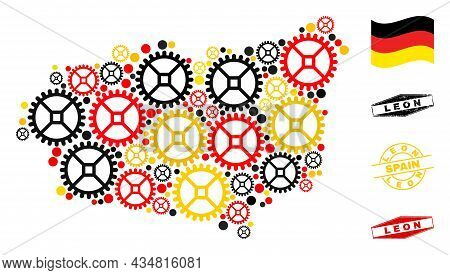 Industrial Leon Province Map Collage And Seals. Vector Collage Is Designed Of Clock Gear Elements In
