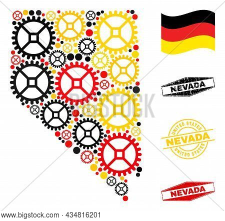 Service Nevada State Map Composition And Seals. Vector Collage Is Composed Of Service Elements In Di