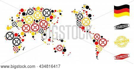 Repair Workshop Worldwide Map Composition And Stamps. Vector Collage Is Composed Of Repair Workshop