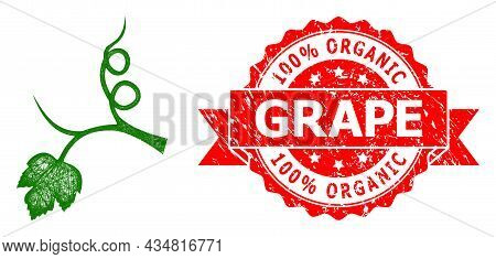 Net Grape Sprout Icon, And 100 Percent Organic Grape Corroded Ribbon Stamp Seal. Red Stamp Seal Incl