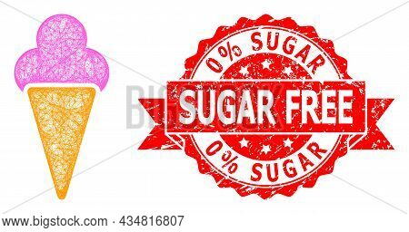 Wire Frame Icecream Icon, And 0 Percent Sugar Free Corroded Ribbon Stamp Seal. Red Stamp Seal Has 0