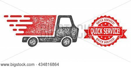 Network Quick Delivery Icon, And Quick Service Warn. Scratched Ribbon Stamp Seal. Red Stamp Seal Inc