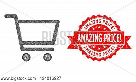 Net Shopping Cart Icon, And Amazing Price Warn. Textured Ribbon Stamp Seal. Red Stamp Seal Has Amazi