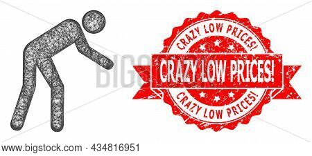 Net Tired Person Icon, And Crazy Low Prices Warn. Dirty Ribbon Seal. Red Seal Includes Crazy Low Pri