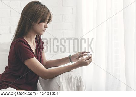 Upset Young Woman Holding Positive Test Pregnancy In Own Hand Worried Something Unwanted Life While