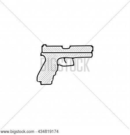 Gun, Pistol Vector Thin Line Icon. Pistol Hand Drawn Thin Line Icon.