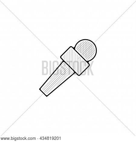 Press Microphone Vector Thin Line Icon. Press Microphone Hand Drawn Thin Line Icon.