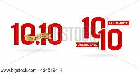 Illustration Of 10.10 Sale, 10.10 Online Sale, 3d Bevel Model Gradient Red With Golden Ribbon, Appli