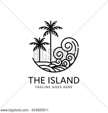 Tropical Beach Sea Waves With Two Palm Trees Monoline Style Design, Island Icon Isolated On White Ba