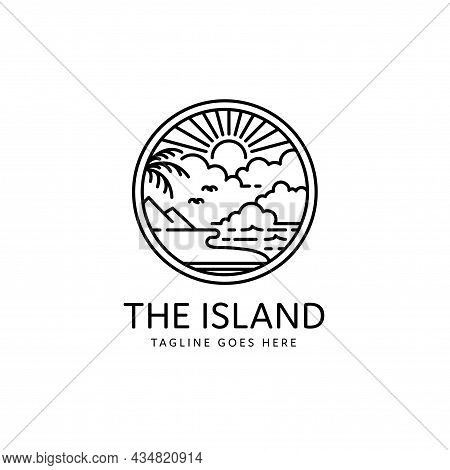 Summer Tropical Island Sunset Monoline Style Design, Island Icon Isolated On White Background From T