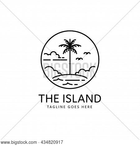Tropical Island With Palm Tree Monoline Style Design, Island Icon Isolated On White Background From