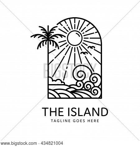 Summer Tropical Island Palm Trees And Waves Monoline Design, Island Icon Isolated On White Backgroun