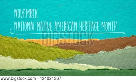 November - National Native American Heritage Month, handwriting against abstract paper landscape, reminder of historical and cultural event