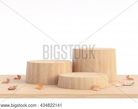 Empty Wooden Cylinder Podium With Autunm Concept Isolated On White Background 3d Render Illustration