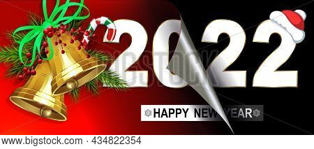 Happy New Year 2022, Golden Shiny Bells, Christmas Composition With Folded Leaf.