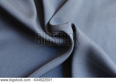 Background Texture Of Black Pattern Fabric Made Of Cotton Or Silk Close Up.