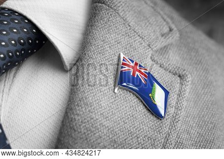 Metal Badge With The Flag Of British Virgin Islands On A Suit Lapel
