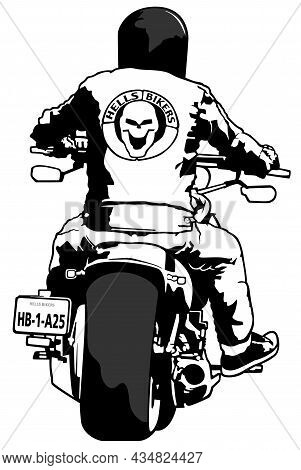 Motorcycle With Rider - Black Drawing Illustration Isolated On White Background, Vector