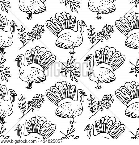 Turkey And Leaves Seamless Pattern Hand Drawn Doodle. Vector, Minimalism, Monochrome. Textiles, Wrap