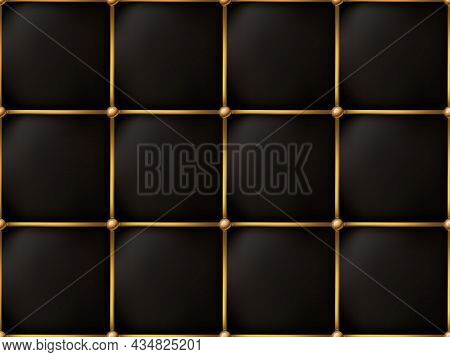 The Gold And Black Texture Of The Leather Quilted Skin - Background Illustration, Vector