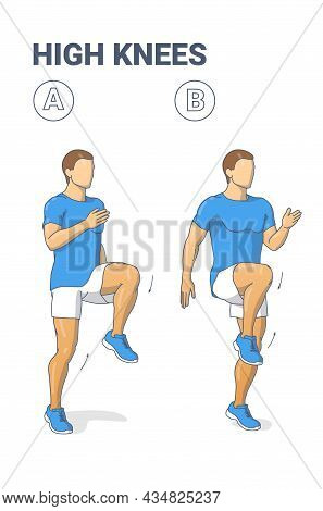 Man Doing High Knees. Front Knee Lifts. Male Jogging On The Spot And Sprinting Exercise Guidance.