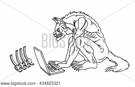 A Werewolf Is Looking For A Victim On The Internet, The Concept Of A Cyber Crime, Vector Illustratio