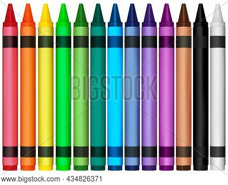 Set Of Colorful Wax Crayons - Colored Illustration Isolated On White Background, Vector
