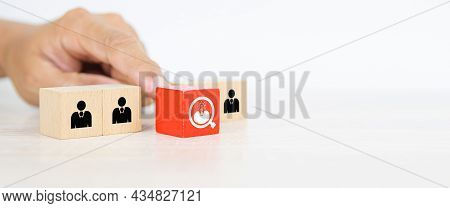 Hand Choose Human With Head Light Bulb Icon On Cube Wooden Block Stack For People Business Team Crea