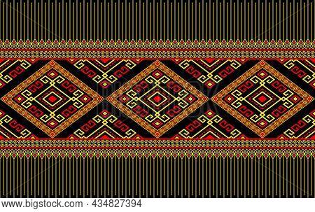 Yellow Red Native Or Tribal Seamless Pattern On Black Background In Symmetry Rhombus Geometric Bohem