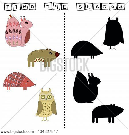 Animal Worksheet Vector Design, The Task Is To Cut And Glue A Piece On Colorful Cute Hedgehog, Squir
