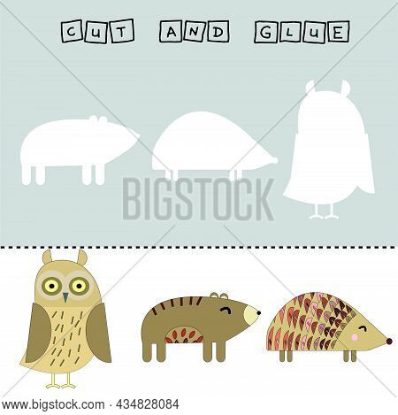 Worksheet Vector Design, The Task Is To Cut And Glue A Piece On Colorful Hedgehog, Bear, Owl. Logic