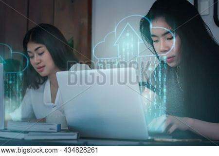 Young Asian Women Use Computers To Work From Home. Icon Cloud Computing Network And Data. Massive St