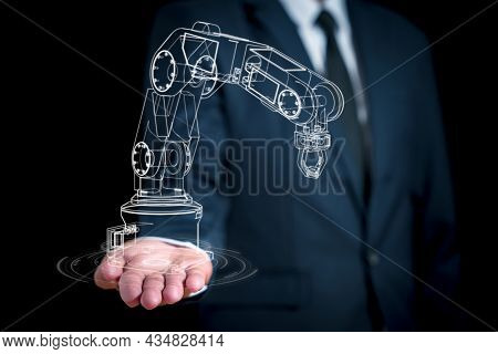 Line Graphics Depicting A Robot's Arm On A Businessman's Hand. Concept Of Developing Robots Ai To Wo