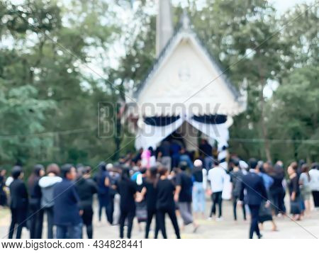 The Image Is Blurred. The Funeral Of Buddhism In The Process Of Cremation At The Cremation Area, Or