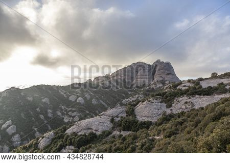 Picturesque Landscape With Mountains. Landscape And Beautiful Sunset On Montserrat Mountain. Rock Fo