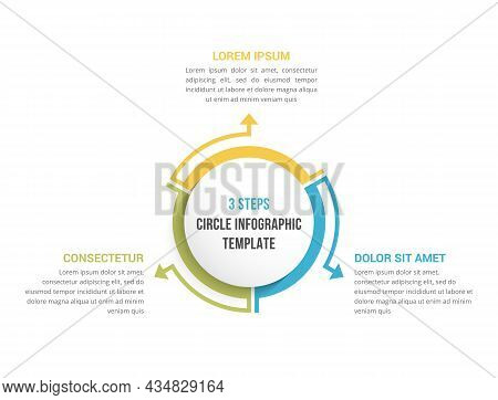 Circle Diagram Template With Three Elements, Infographic Template For Web, Business, Presentations,