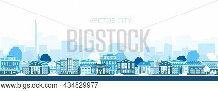 Vector Poster With The City In Blue. Panoramic View Of The City With City Buildings.