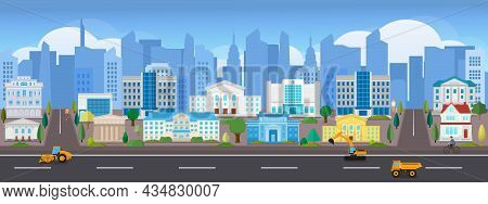 Vector Poster With City View. Panoramic View. Modern Skyscrapers And Houses.