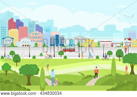 Vector Poster With City View. City Park With People. Modern City With Skyscrapers, Road And Trees.